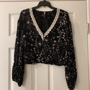 Free People Cropped Long Sleeve Blouse